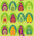 funny owl and a cat vector image vector image