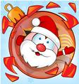 funny santa claus on christmas ball cartoon vector image vector image