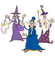 funny wizards cartoon characters group vector image