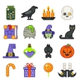 Halloween witch magic icons set isolated flat vector image