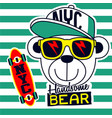 handsome cool bear cartoon vector image