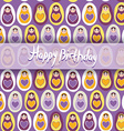 Happy Birthday Card pattern orange Russian dolls vector image