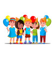 happy children in party caps with balloons vector image vector image