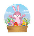 happy rabbit with easter egg vector image vector image