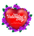 happy valentines day greeting card with red heart vector image