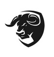 head of a bull monochrome logo vector image vector image
