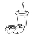 hot dog with soda black and white vector image
