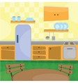 Kitchen interior and cooking utensils vector image