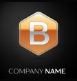 letter b logo symbol in the golden hexagonal vector image vector image