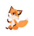 lovely curious fox character funny forest animal vector image