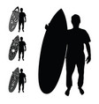 man silhouette with surfboard active set vector image vector image