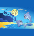 night seascape with two dolphins vector image
