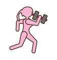 pictogram girl sport dumbbell fitness vector image