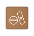 pills icon on wooden blocks isolated on a white vector image vector image