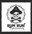 pirate skull insignia poster rum label design vector image vector image
