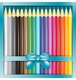 Present box of pencils with ribbon vector image vector image
