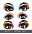 realistic eyes set in different colors vector image