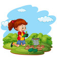 scene with kid planting trees in garden vector image vector image