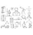 Scientific items sketch isolated icons vector image