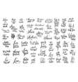 set of 57 black and white hand written lettering vector image