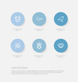 set of 6 editable zoology icons includes symbols vector image vector image