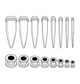 Set of ear tunnels and taper starters kit Contour vector image