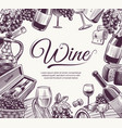 sketch wine background celebration wine bottle vector image vector image