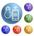 smart bulb control icons set vector image
