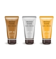 Sunscreen cream realistic package set isolated on vector image