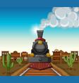 train ride in desert town vector image vector image