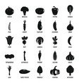 vegetables icons set simple style vector image