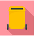 yellow garbage can icon flat style vector image