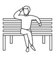 young man sitting in the park chair vector image