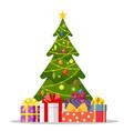 christmas tree and holiday gifts vector image