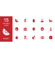 15 sweet icons vector image vector image