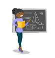 african teacher standing in front of blackboard vector image vector image