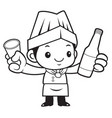 black and white cook mascot holding a distilled vector image