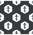 Black hexagon orthodox cross pattern vector image