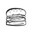 black outline isolated hamburger icon vector image vector image