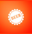 bottle cap with beer word icon vector image