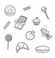 candy and cookies set line sketch style vector image vector image