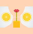 cartoon style girl drinking orange juice vector image
