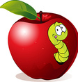 Cartoon Worm In Red Apple vector image vector image