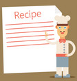 chef presenting recipe card flat vector image