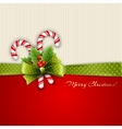 Christmas decoration with holly leaves and candy vector image vector image