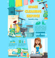 cleaning service and laundry sewing dishwashing vector image