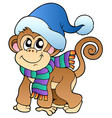 cute monkey in winter clothes vector image