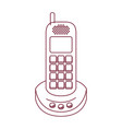 dark red line contour of cordless phone vector image vector image
