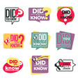 did you know isolated icons attention information vector image vector image