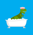 dinosaur in bath dino washes ancient vector image vector image